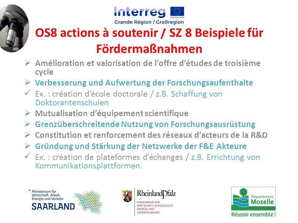 OS8 actions à soutenir / SZ 8 Beispiele für Fördermaßnahmen