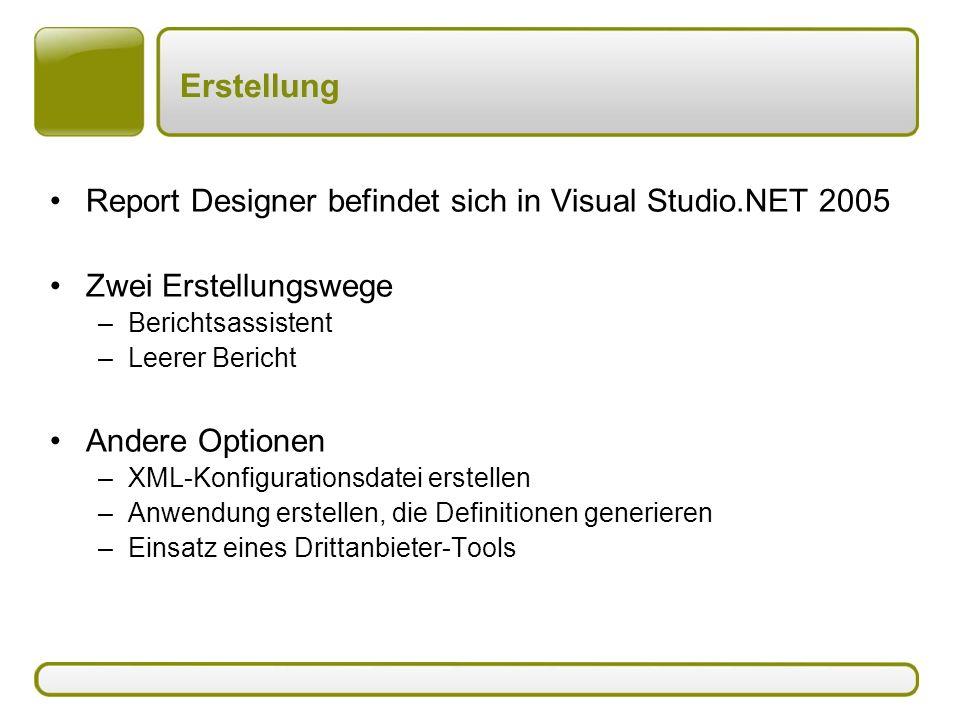 Erstellung Report Designer befindet sich in Visual Studio.NET 2005