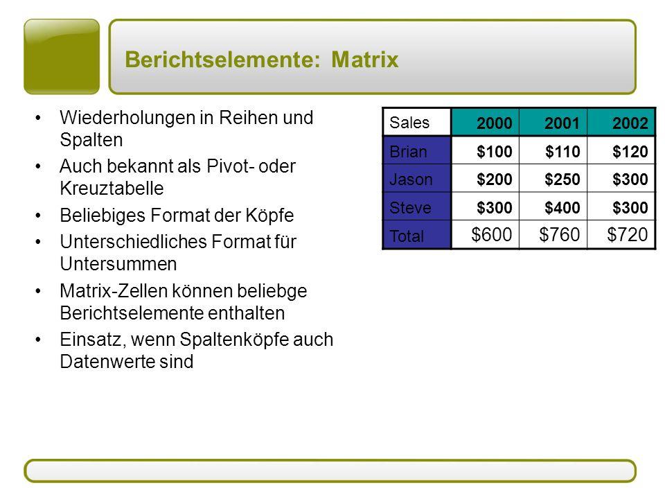 Berichtselemente: Matrix