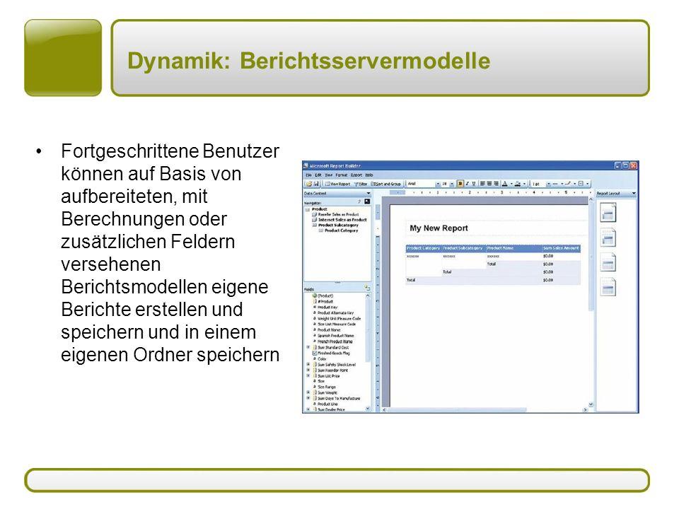 Dynamik: Berichtsservermodelle