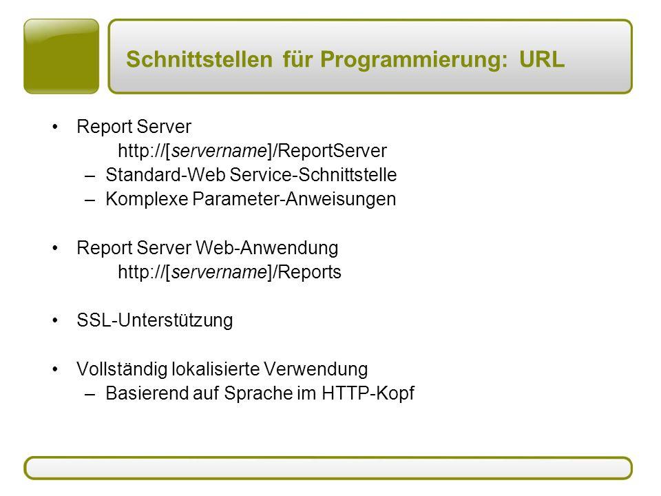 Schnittstellen für Programmierung: URL