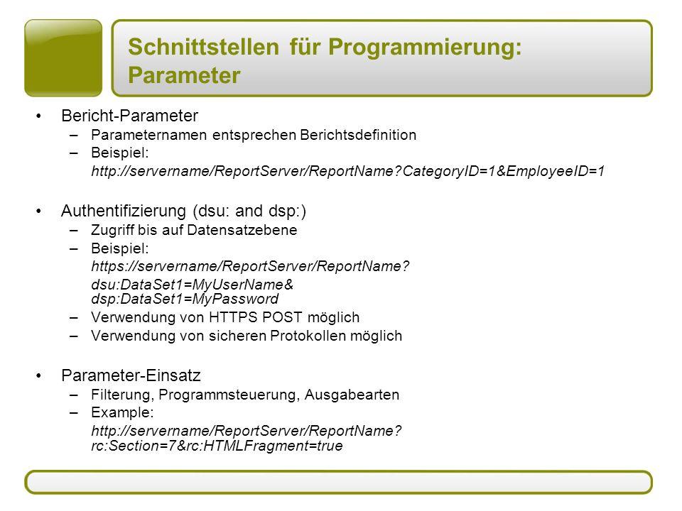 Schnittstellen für Programmierung: Parameter