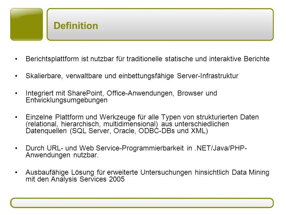 Definition Berichtsplattform ist nutzbar für traditionelle statische und interaktive Berichte.