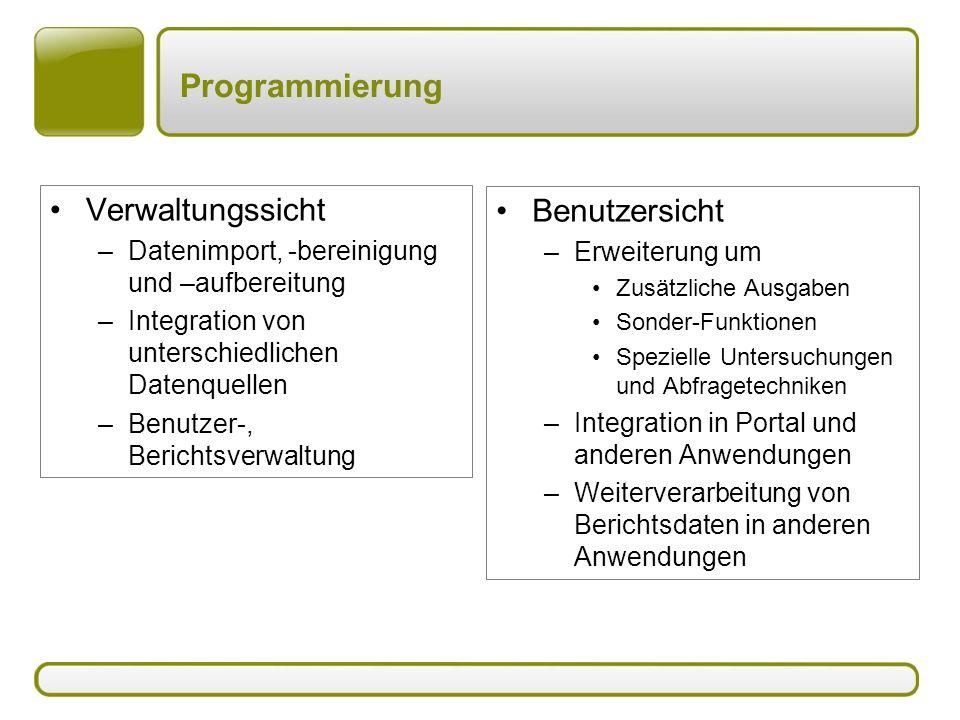 Programmierung Verwaltungssicht Benutzersicht