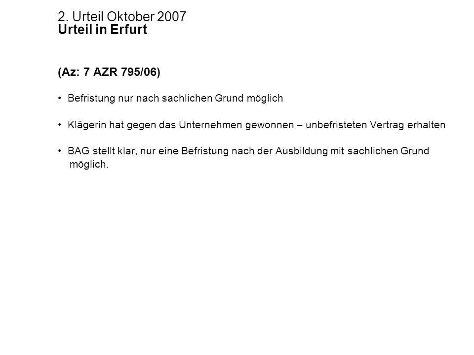 2. Urteil Oktober 2007 Urteil in Erfurt