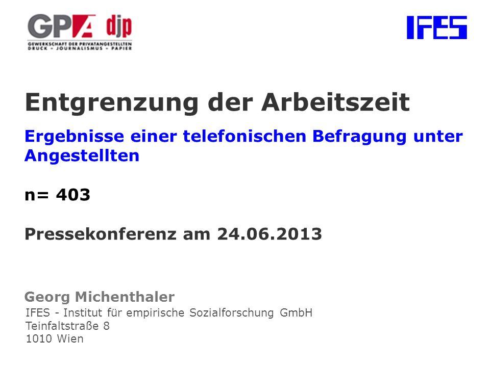 Entgrenzung der Arbeitszeit Ergebnisse einer telefonischen Befragung unter Angestellten n= 403 Pressekonferenz am 24.06.2013 Georg Michenthaler