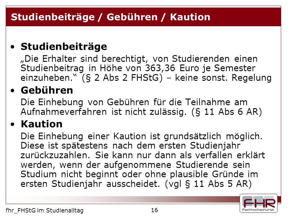 Studienbeiträge / Gebühren / Kaution