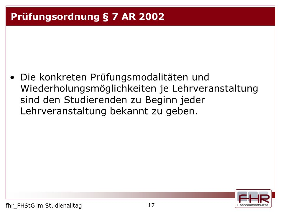Prüfungsordnung § 7 AR 2002