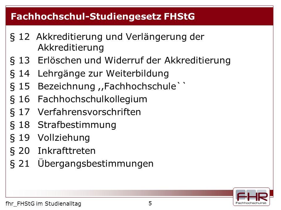 Fachhochschul-Studiengesetz FHStG