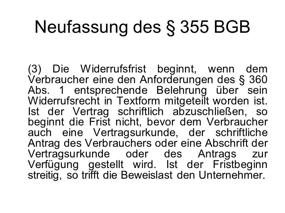 Neufassung des § 355 BGB