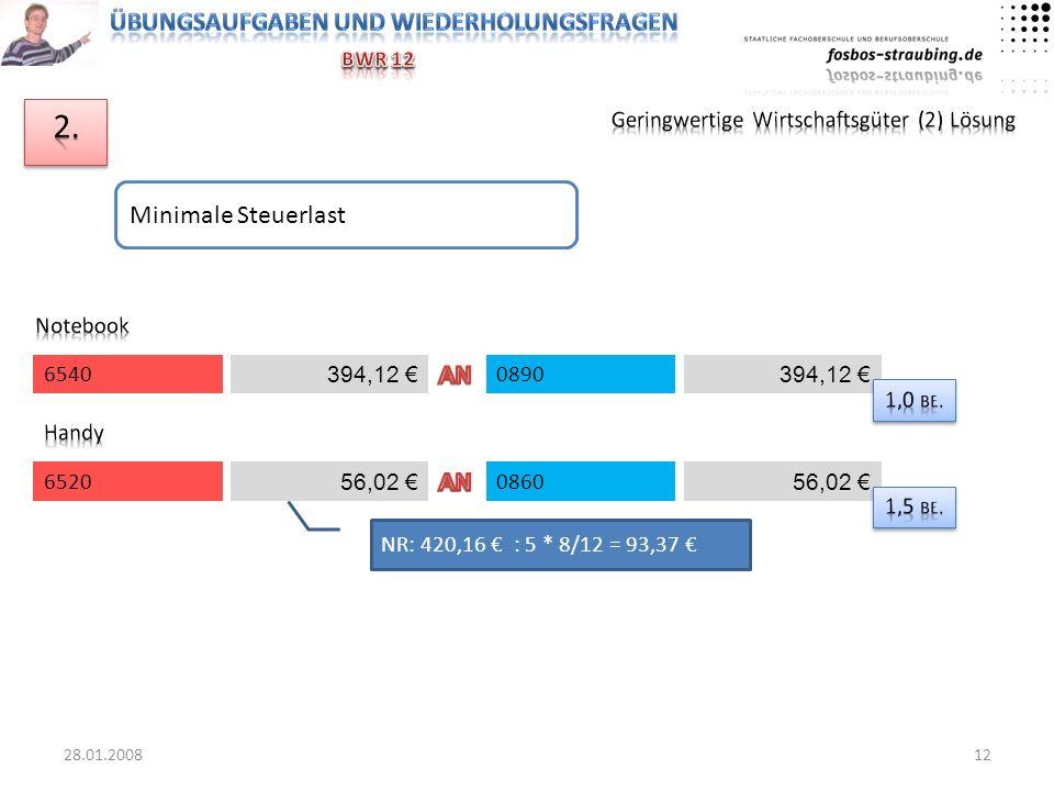 2. Minimale Steuerlast Geringwertige Wirtschaftsgüter (2) Lösung