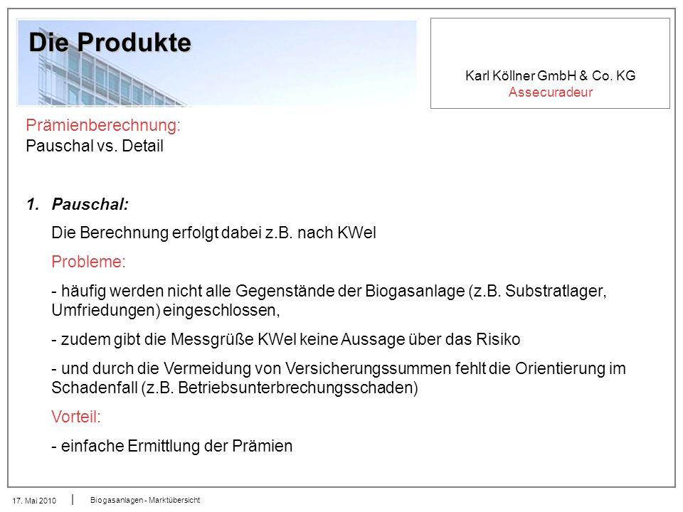 Die Produkte Prämienberechnung: Pauschal vs. Detail Pauschal: