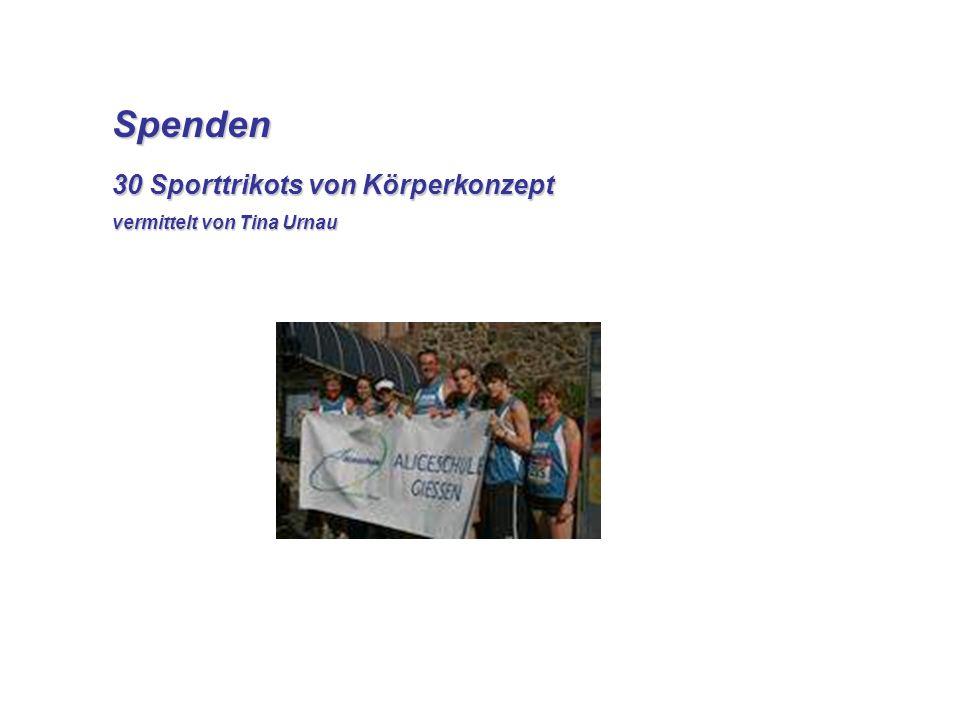 Spenden 30 Sporttrikots von Körperkonzept vermittelt von Tina Urnau