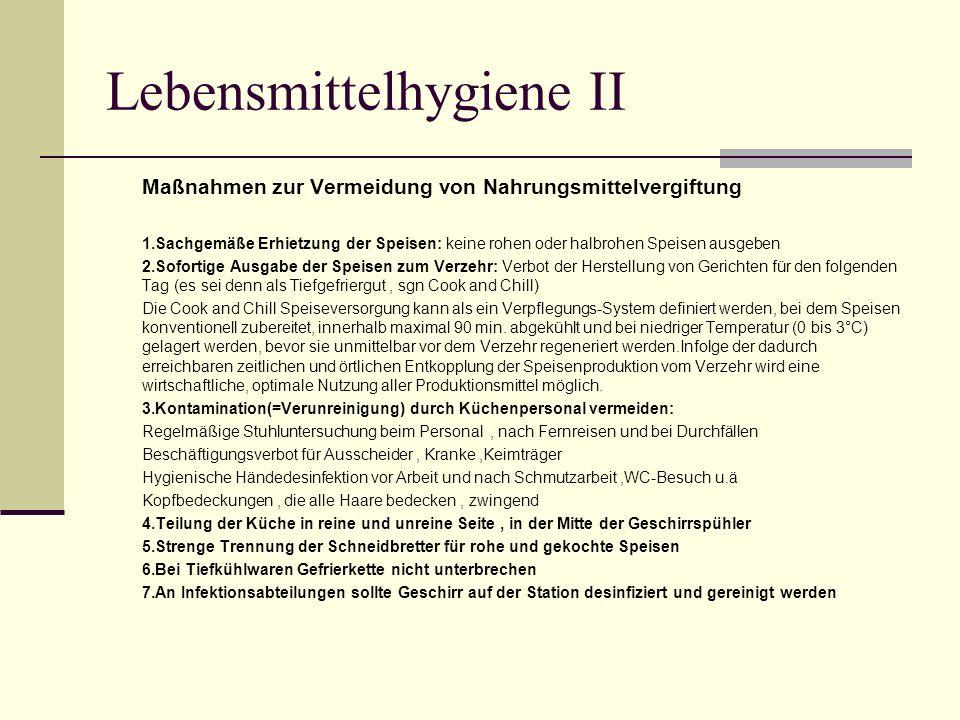 Lebensmittelhygiene II
