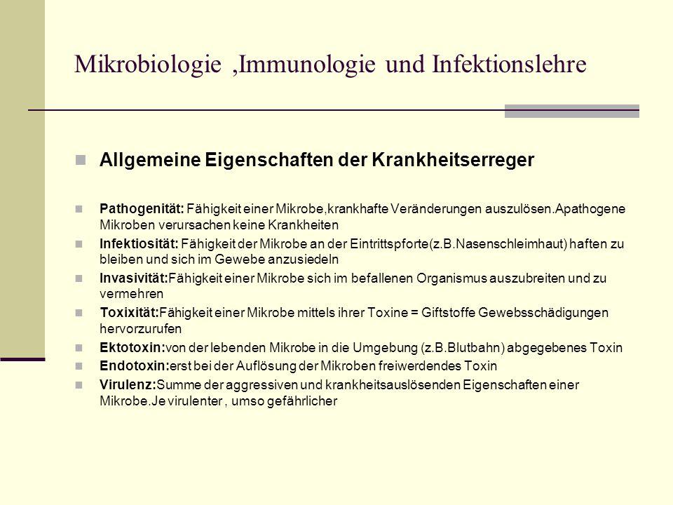 Mikrobiologie ,Immunologie und Infektionslehre