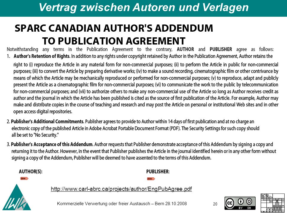 Vertrag zwischen Autoren und Verlagen