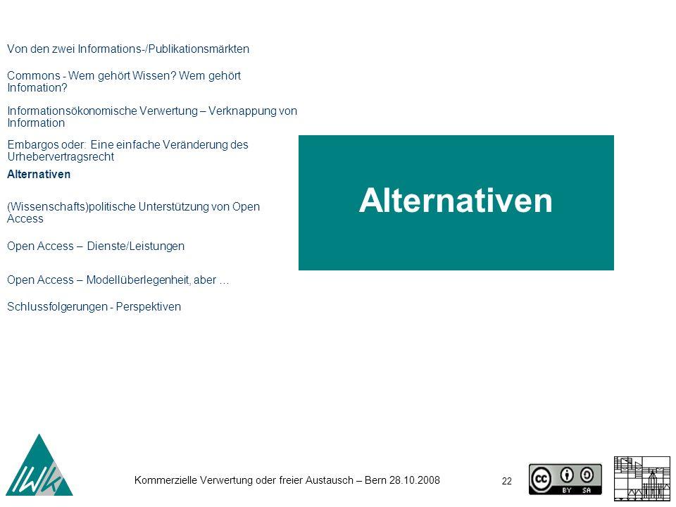 Alternativen Von den zwei Informations-/Publikationsmärkten