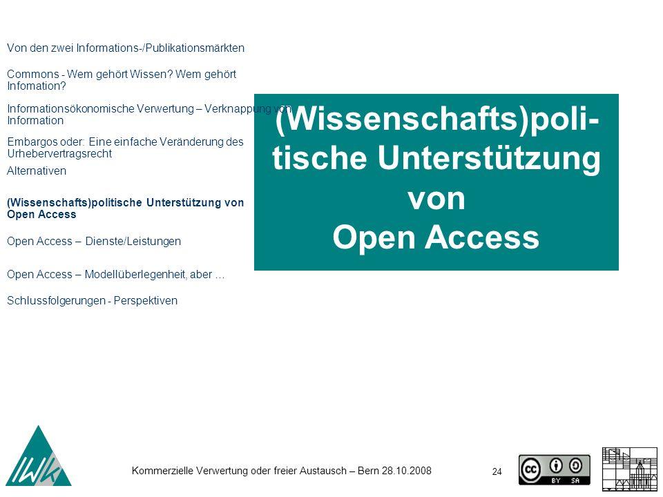 (Wissenschafts)poli-tische Unterstützung von Open Access
