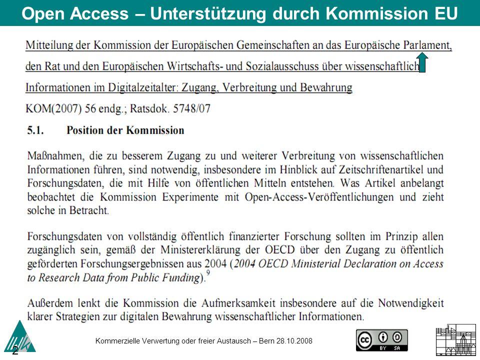 Open Access – Unterstützung durch Kommission EU