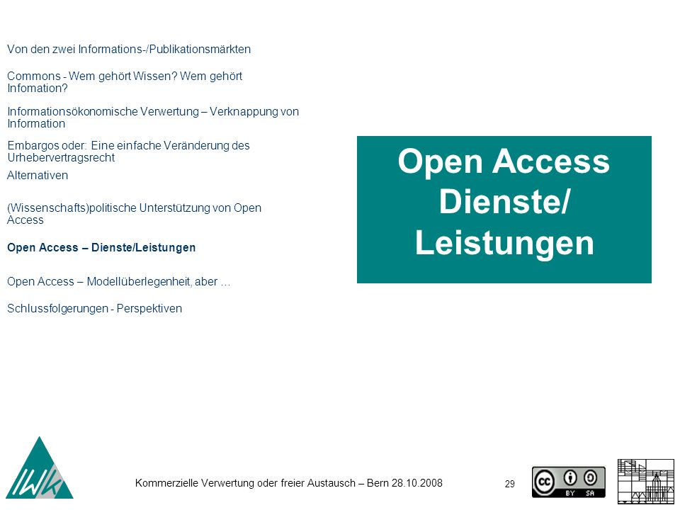 Open Access Dienste/ Leistungen