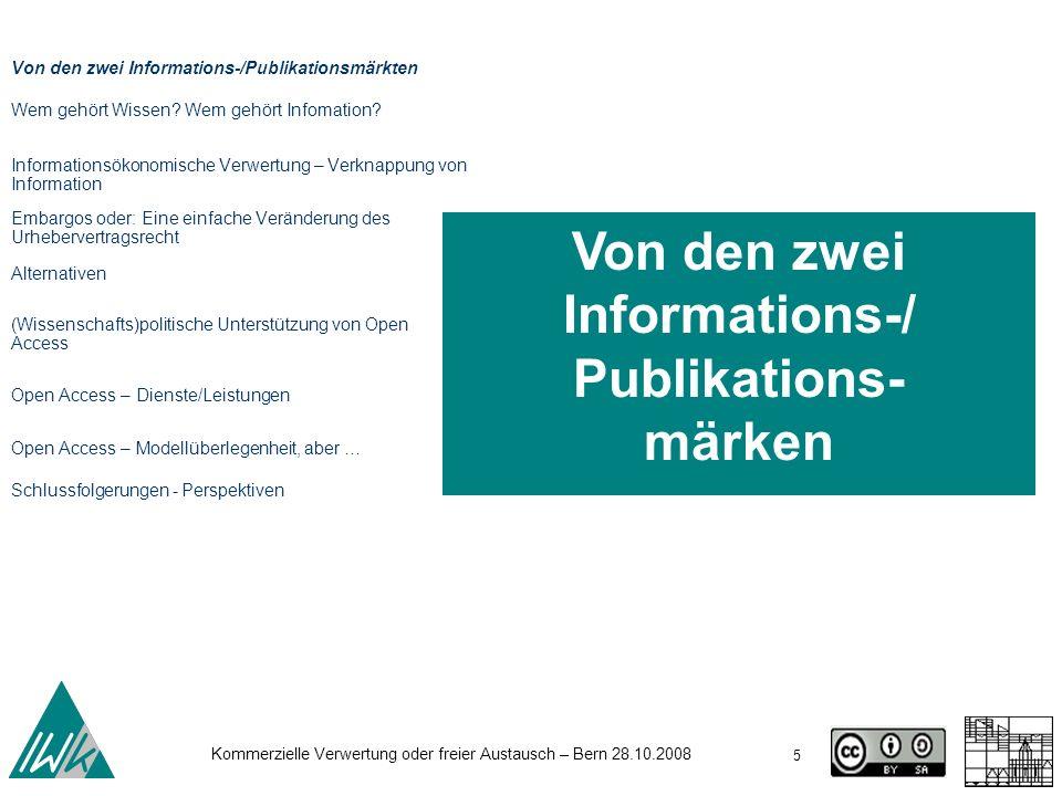Von den zwei Informations-/ Publikations- märken