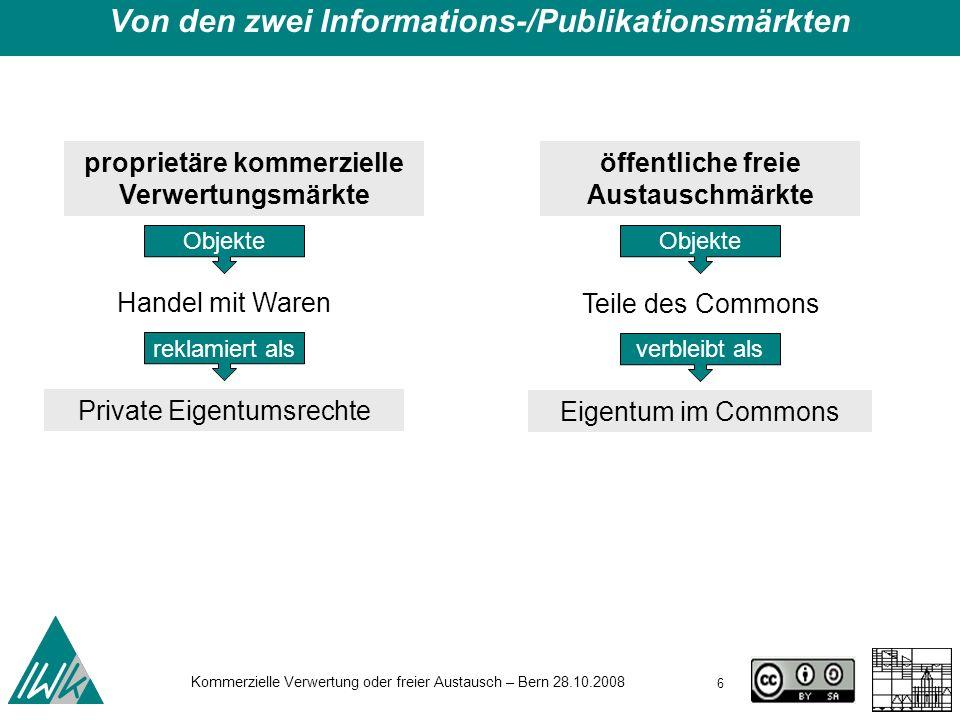 Von den zwei Informations-/Publikationsmärkten