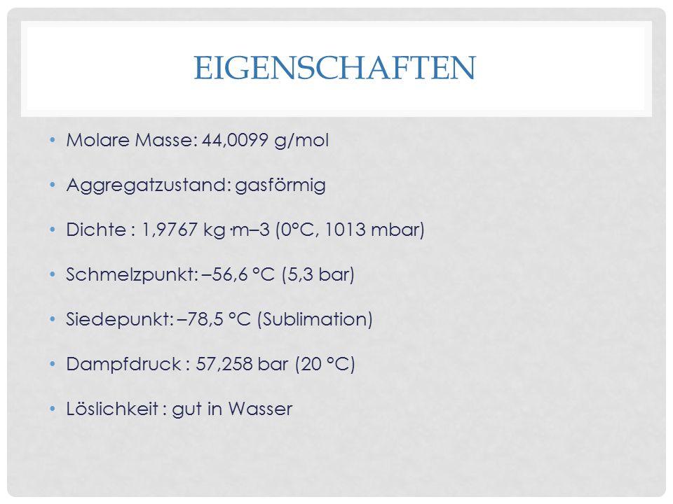 eigenschaften Molare Masse: 44,0099 g/mol Aggregatzustand: gasförmig