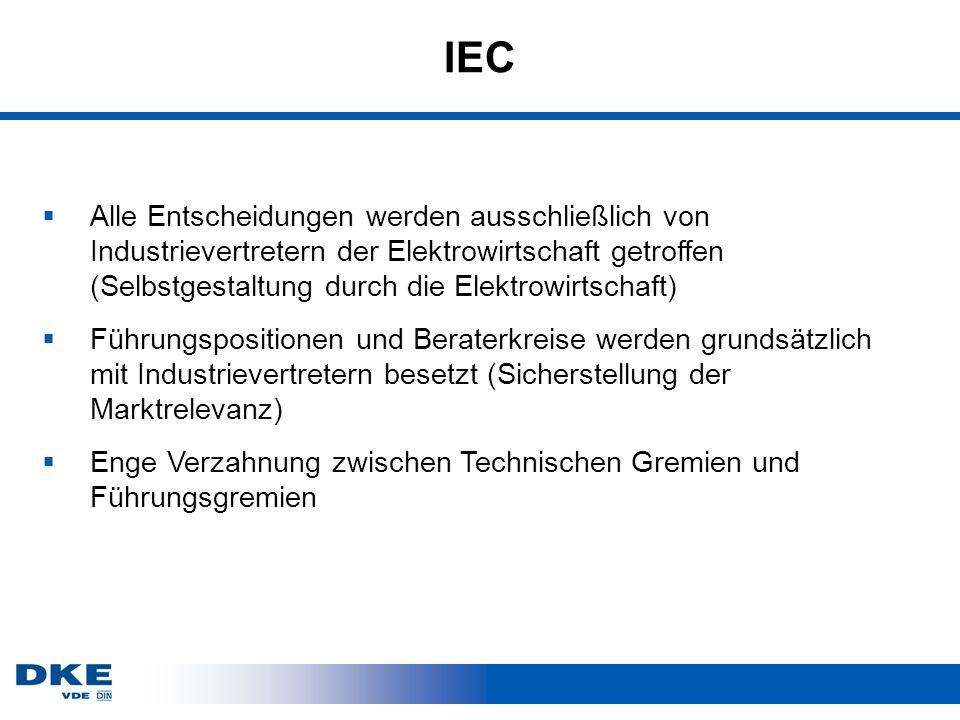 IEC Alle Entscheidungen werden ausschließlich von Industrievertretern der Elektrowirtschaft getroffen (Selbstgestaltung durch die Elektrowirtschaft)