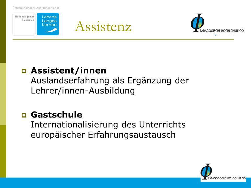 Assistenz Assistent/innen Auslandserfahrung als Ergänzung der Lehrer/innen-Ausbildung.