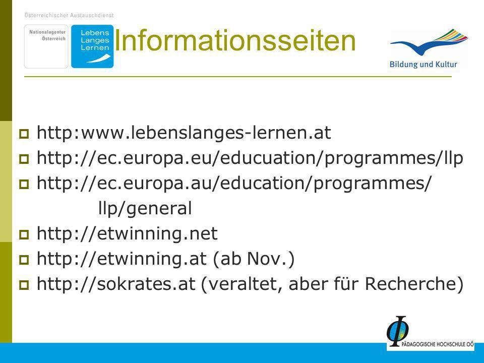 Informationsseiten http:www.lebenslanges-lernen.at