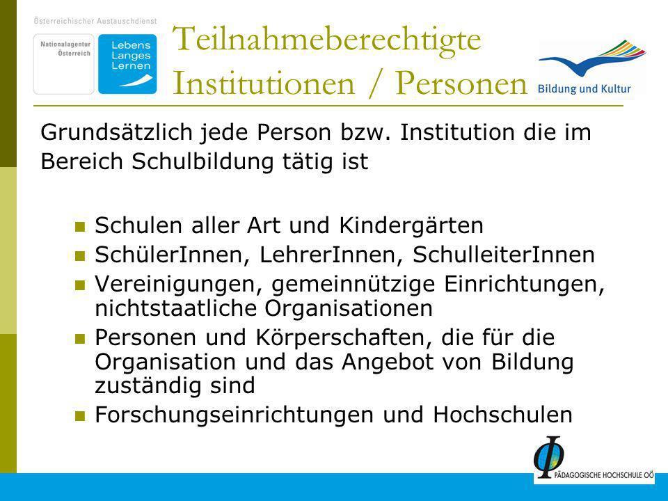 Teilnahmeberechtigte Institutionen / Personen