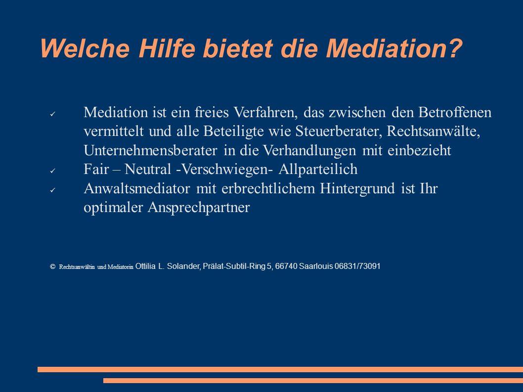 Welche Hilfe bietet die Mediation
