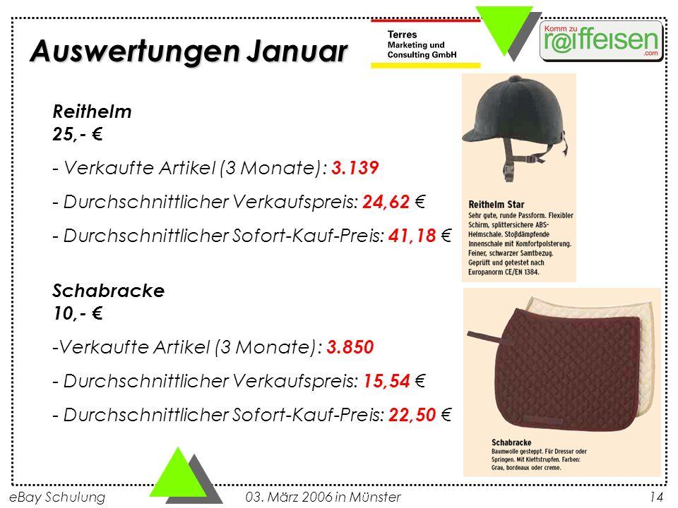 Auswertungen Januar Reithelm 25,- €