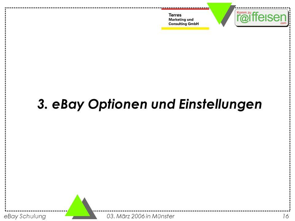 3. eBay Optionen und Einstellungen