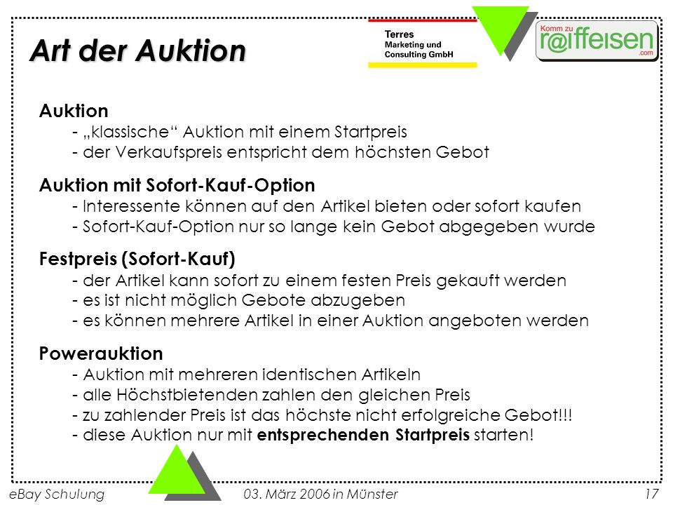 """Art der AuktionAuktion - """"klassische Auktion mit einem Startpreis - der Verkaufspreis entspricht dem höchsten Gebot."""