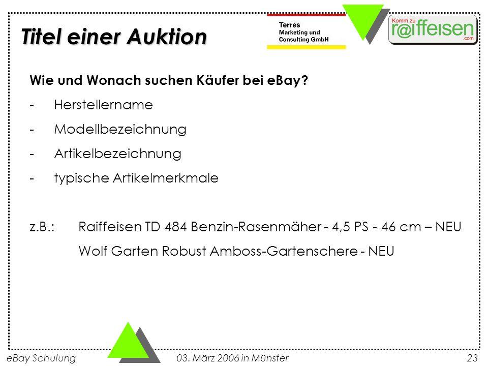 Titel einer Auktion Wie und Wonach suchen Käufer bei eBay