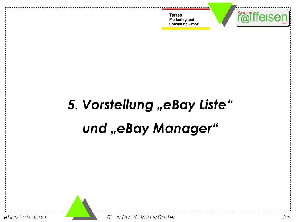 """5. Vorstellung """"eBay Liste"""