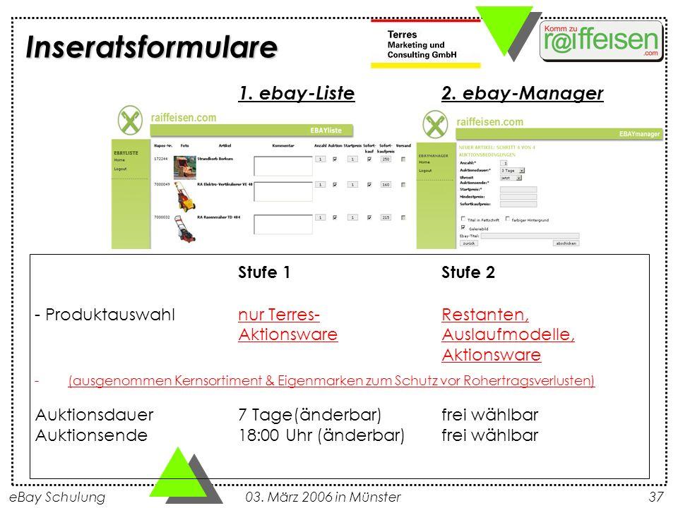 Inseratsformulare 1. ebay-Liste 2. ebay-Manager Stufe 1 Stufe 2
