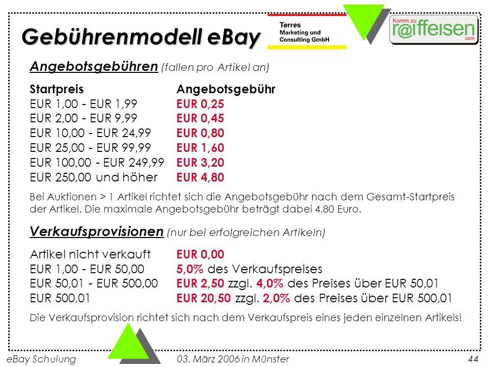 Gebührenmodell eBay Angebotsgebühren (fallen pro Artikel an)