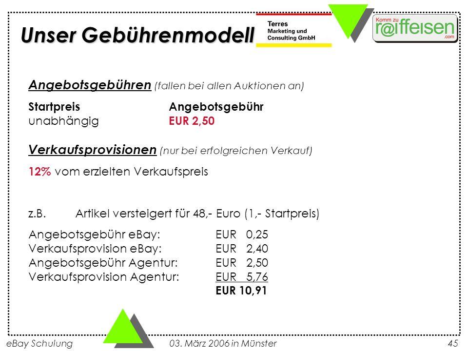 Unser Gebührenmodell Angebotsgebühren (fallen bei allen Auktionen an)