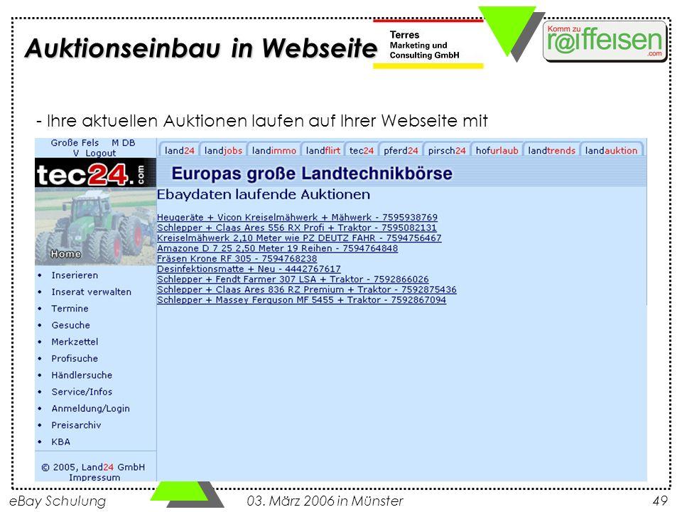 Auktionseinbau in Webseite