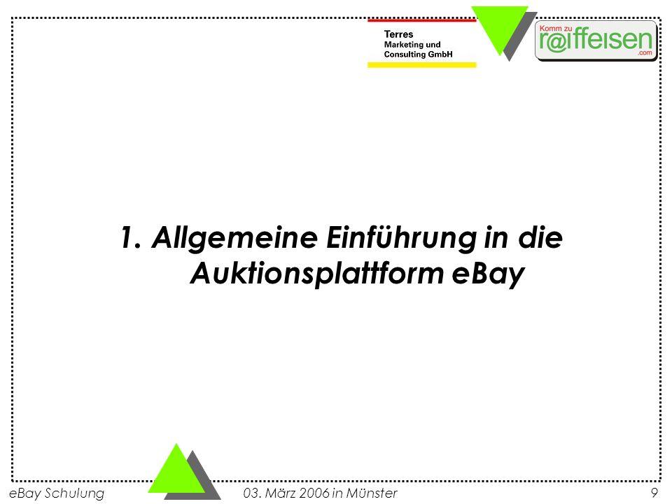 1. Allgemeine Einführung in die Auktionsplattform eBay