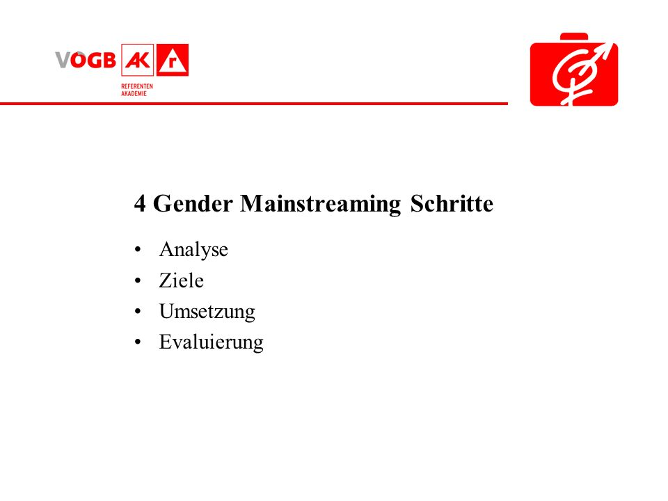 4 Gender Mainstreaming Schritte