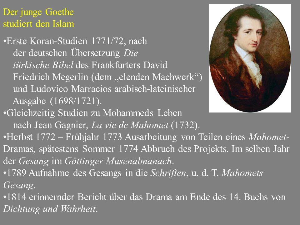 Der junge Goethe studiert den Islam. Erste Koran-Studien 1771/72, nach. der deutschen Übersetzung Die.