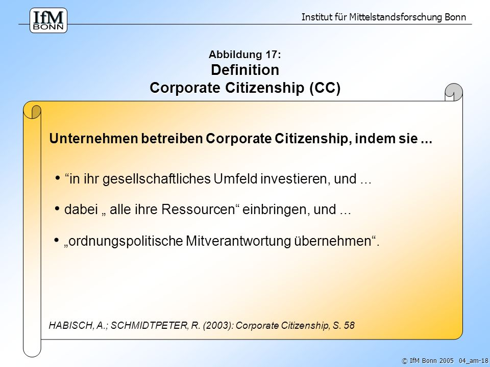 Abbildung 17: Definition Corporate Citizenship (CC)