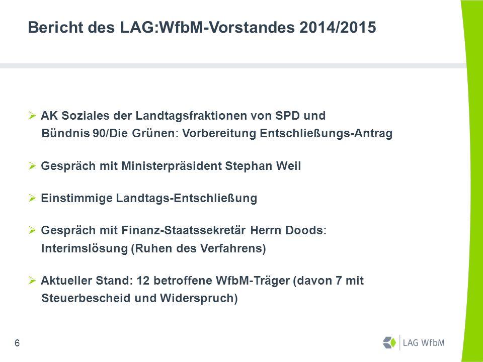 Bericht des LAG:WfbM-Vorstandes 2014/2015