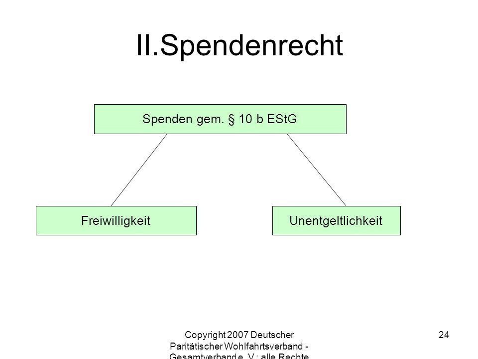 Spendenrecht Spenden gem. § 10 b EStG Freiwilligkeit Unentgeltlichkeit