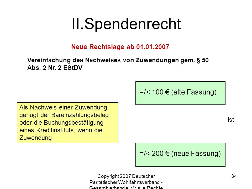 Spendenrecht =/< 100 € (alte Fassung) =/< 200 € (neue Fassung)