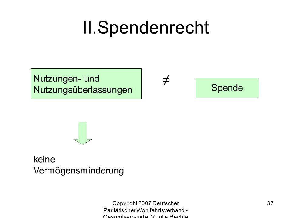 Spendenrecht ≠ Nutzungen- und Nutzungsüberlassungen Spende