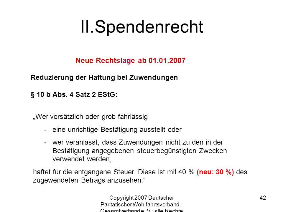 Spendenrecht Neue Rechtslage ab 01.01.2007